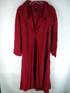 BISOU BISOU maroon single closure long open front duster sweater L