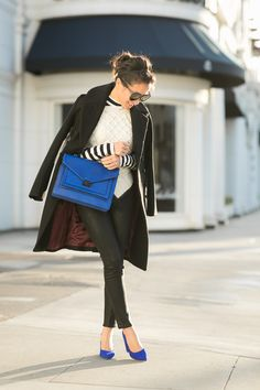 Top :: H&M coat, Carven sweater, Forever21 stripe top  Bottom :: Citizens of Humanity  Bag :: thanks to Loeffler Randall!  Shoes :: thanks to Dumond!  Accessories :: Karen Walker sunglasses.
