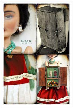 Art Doll Frida Kahlo & Cigar Box Shrine  Auction Piece 2010