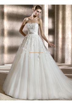 Robe tulle appliqué de dentelle robe de mariée de luxe