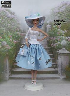 """Robe Barbie """" Aurélia """" Vêtement pour poupée Barbie Silkstone Fashion Royalty Muse f3788"""