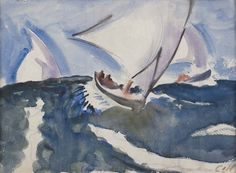 Charles Hopkinson, Three Scudding Sailboats, c. 1935-40. Watercolor on paper.
