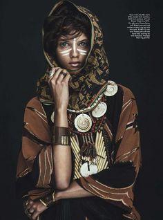 Tribal*Ribal…… Marina Nery in Vogue Australia Spring 2014 Issue!  this shoot showcased tribal embellishment culture throughout a futuristic eye….              Photographer: Sebastian                                              Kim Stylist: Katie Mossman