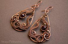 Garnet earrings Wire wrapped earrings Copper by StasyaWireWrap, $37.00