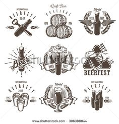 Set of vintage beer festival emblems, labels, logos, badges and designed elements. Monochrome style. Isolated on white background - stock vector
