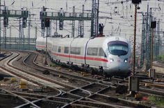 ICE T high speed train is arriving at Frankfurt Central Station