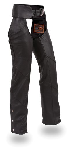 Womens Only Black Leather Motorcycle Chaps by First Mfg  http://www.mymotorcycleclothing.com/