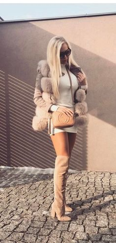 Outfits Combined With Knee High Boots #hothighheelssexyoutfits