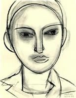 Matisse - Face (Claude)   charcoal on paper   40.5 x 30 cm.  Private Collection   1946