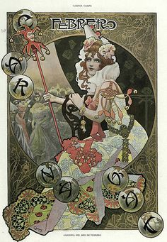 of the month of February- Gaspar Camps Album Living Magazine January 1901 -Hemeroteca of the National Library of Spain Art And Illustration, Illustrations And Posters, Vintage Artwork, Vintage Posters, Alfons Mucha, Art Nouveau Poster, Retro Poster, Kunst Poster, New Art