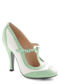 Specialty Sweets Heel in Mint - White, Mint, Solid, Cutout, Vintage Inspired, 20s, 30s, Pastel, Exclusives, High, Leather