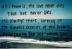 All I know is, the love never dies. True love never dies. It's always there, lurking in the deepest crevices of the heart. Resurfacing for air when you allow it. <3
