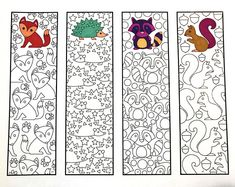 Cute Animal Bookmarks PDF Zentangle Coloring Page with foxes, hedgehogs, raccoons, and squirrelsSix Adorable Animal Bookmarks! – Printable Coloring Pages – Scribble & StitchCute Animal Bookmarks – Male the bookmarks to take notes!Make reading j Animal Coloring Pages, Free Coloring Pages, Printable Coloring Pages, Coloring Books, Coloring Sheets, Zentangle, Free Printable Bookmarks, Art Projects, Cute Animals