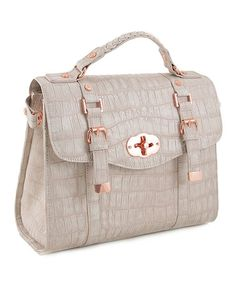 Take a look at this Taupe La Vie en Rose Crocodile Satchel by 33RD & MAD. on #zulily today!