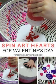 Try something different at the art table with these spin art Valentine's hearts! A fun way for toddlers and preschoolers to paint. #valentinesday #art #toddlers #preschool #hearts #AGE2 #AGE3 #artsandcrafts