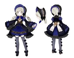 服装 : Lolita , black , dark blue , gold , white