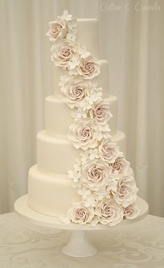 Rose cascade wedding cake by Cotton and Crumbs Wedding Cake Fresh Flowers, White Wedding Cakes, Elegant Wedding Cakes, Beautiful Wedding Cakes, Wedding Cake Designs, Rose Wedding, Beautiful Cakes, Dream Wedding, Trendy Wedding