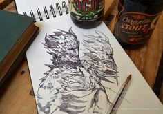 Beers//Sketch!!! #artoftheday #artwork #instaart #instadraw #fantasyart #arte…