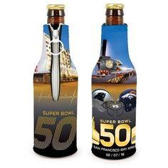Super Bowl 50 Dueling Helmet Panthers vs Broncos Bottle Suit Cooler- 2 Pack