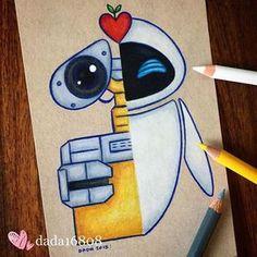 Doodle art 678354762604492299 - Wall-E & Eve Source by Cute Disney Drawings, Cool Art Drawings, Art Drawings Sketches, Cartoon Drawings, Easy Drawings, Pencil Drawings, Drawing Disney, Doodle Art, Wall E Eve