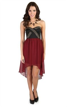 Deb Shops High Low #Dress with Gold Criss Cross Detailing and Contrast Skirt $34.90