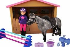 Chad valley Pony Parade Stables Horse Bumper Set Includes stable with horse. saddle and reins. a doll. 1 set of jumps. tack box. manger. bucket. fork. spade and brush. Doll comes wearing t-shirt. jodhpurs. riding boots and hat. Pony comes complete w http://www.comparestoreprices.co.uk/childs-toys/chad-valley-pony-parade-stables-horse-bumper-set.asp