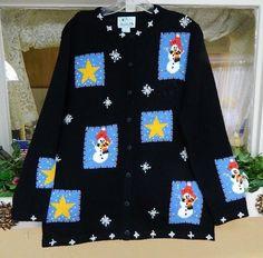 Quacker Factory Snowman N Stars Winter Holiday Sweater SM NWOT Black Blue Yellow #QuackerFactory #Cardigan