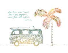 Artwork by Leslie Sabella - One Love Hippie Van- 8x10 Metallic Print, Bob Marley. $20.00, via Etsy.