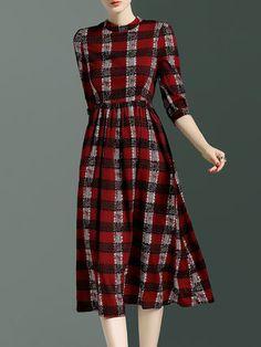 Red Vintage Polyester Midi Dress