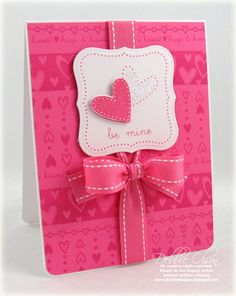 handmade Valentine ... hot pink!! ... pretty card ... luv the bow ...
