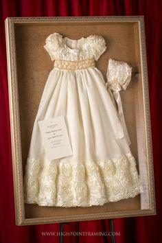 Christening gown and bonnet framed