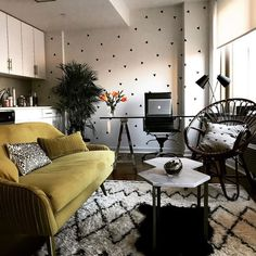 Black Mini Triangles by @Urbanwalls in an eclectic living room and office.