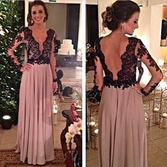 Charming Prom Dress V-Neck Prom Dress A-Line Prom Dress Long Sleeve Prom Dress Chiffon Prom Dress Backless Prom Dress
