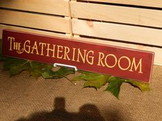 Wooden The Gathering Room Sign, Burgundy, Handcrafted