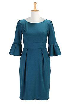 I <3 this Ruffle cuffs ponte knit dress from eShakti