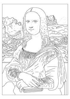 Mona Lisa - Leonardo da Vinci coloring page; Coloriage