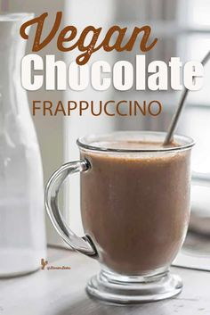 Vegan Chocolate Frappuccino with protein recipe by nutritionist Peggy K. from her cookbook Kitchen Cures! Save time and calories with this healthy frappe! Fruit Smoothie Recipes, Good Smoothies, Frappuccino, Frappe, Flaxseed Smoothie, Orange Smoothie, Vegan Chocolate, Dairy Free, Protein
