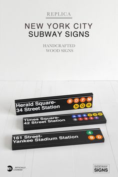 MTA Officially Licensed New York City subway signs. All signs are handcrafted in the U.S. one at a time. We don't use any vinyl or stick on letters. With over 400+ station signs to choose from, we've got you covered. Or request a custom sign. We also have other city signs, and street signs. Check us out!