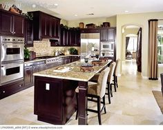 dark cabinets kitchen | Contemporary kitchen with dark wood cabinets [LPA00045_a004] > Stock ...