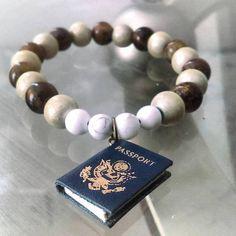 Passport Charm Bracelet Wooden Beads Howlite Gemstones Unisex