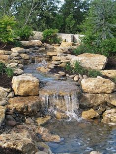 Backyard landscaping hillside water features 44 New Ideas Backyard Stream, Backyard Water Feature, Ponds Backyard, Backyard Waterfalls, Water Falls Backyard, Large Backyard, Water Falls Garden, Backyard Ideas, Garden Stream