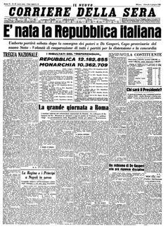2 giugno 1946 Corriere della sera. È nata la repubblica italiana