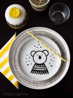 CIRKUS: DIY - plate Deco, Diy Kitchen, Diy Painting, Porcelain, Plates, Tableware, Handmade, Childhood, Yellow