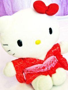 """Sanrio Hello Kitty Plush 11"""" Geisha Girl Red Kimono & Bow Adult Owned Rare HTF Free Speedy Shipping!"""