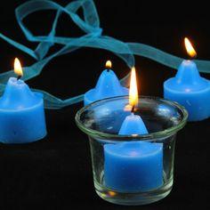 Mavi Renk Votiv Hediyelik Mum 4 Lü Mavi Hediyelik Mum  4 Lü Mavi Voit Mum Cam Mumluk Hediyeli ,