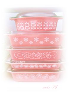 My favorite pink Pyrex pieces from my collection. --Evie '15