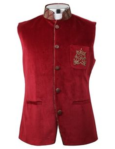 Bennevis red velvet wedding wear men waistcoat | G3-MWC0149