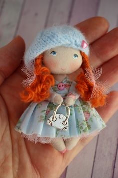 Gift for girl friend miniature fabric redhead doll for dollhouse Tiny Dolls, Ooak Dolls, Plush Dolls, Doll Toys, Art Dolls, Dollhouse Dolls, Miniature Dolls, Best Valentine Gift, Doll Painting