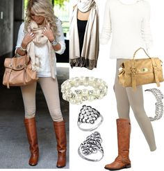 Fashion Style Boards, My Style cream sweater brown boots items start low as 7.99