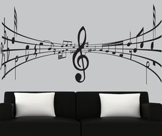 Modern vinyl wall decal 3d music notes decal black silhouette decals music wall mural. $69.00, via Etsy.